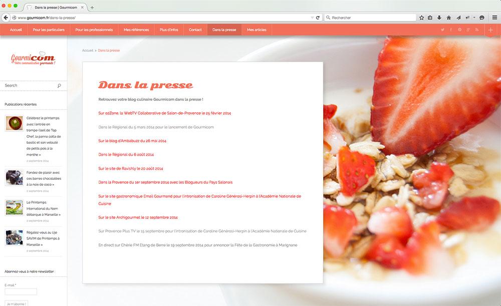Page presse du blog Gourmicom