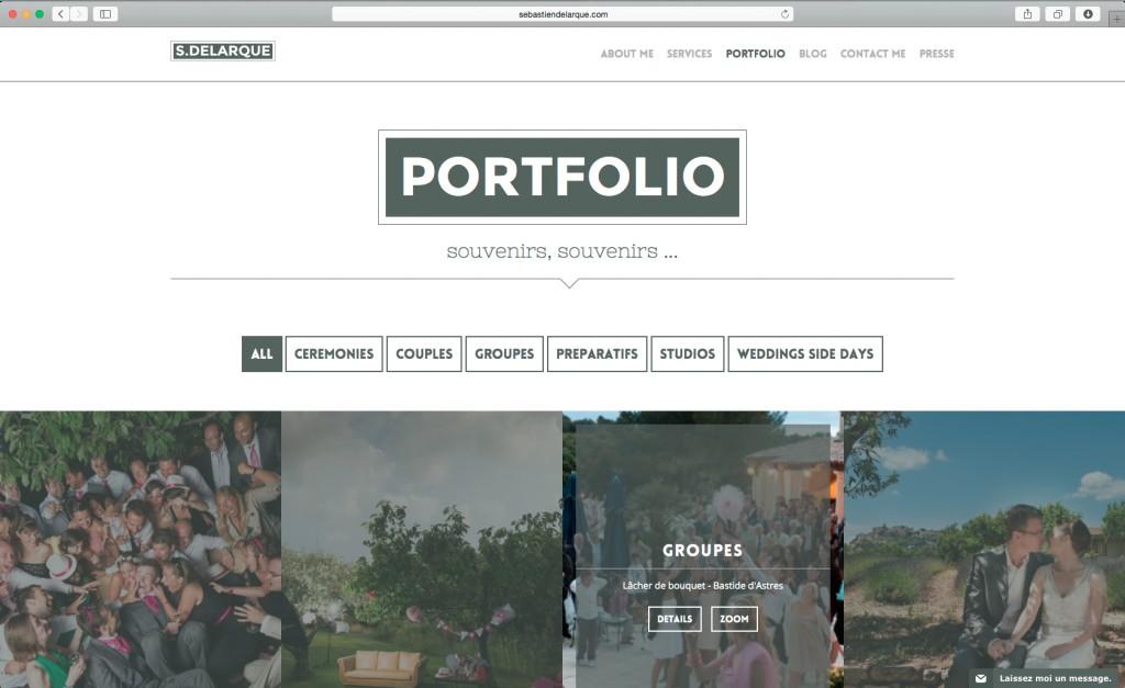 Page portfolio du site de Sébastien Delarque