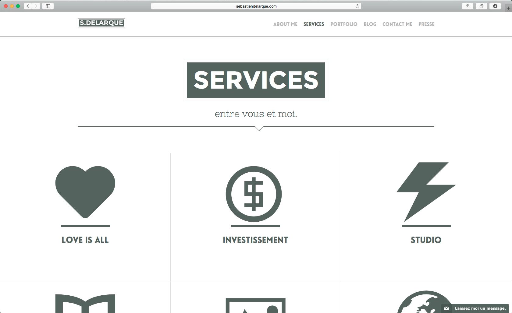 Page Service du site de Sébastien Delarque